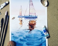 Seascapes watercolour paintings
