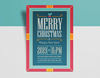 Free Vintage Christmas & New Year 2019 Flyer Design Tem