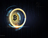 Bitcoin abstract background banner ( crypto , currency