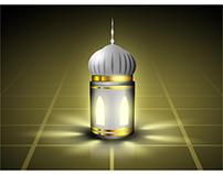 Arabic Lamp glowing in Ramadan