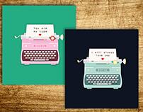 Two Valentines Postcard Typewriters