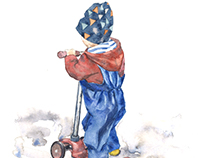 the boy on the scooter