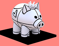 ROMERO BRITTO: GIANT PIG SCULPTURE ON NET DRAGON