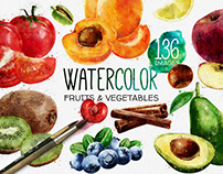 Watercolor Fruits And Vegetables