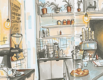 The sketches of Berlin Cafes