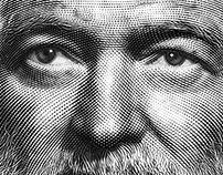 Engraved Portrait of Ernest Hemingway