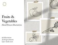 Fruits & Vegetables Hand Drawn Illustrations