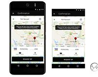 Uber confirmation page design