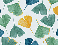 Watercolor Ginkgo Pattern