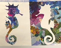 Negative Space Seahorse Collage