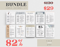Simple Resume Template Bundle / 10 in 1 / Coverletter