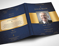 Blue Gold Dignity Funeral Program Word Publisher Large