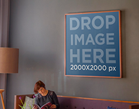 Poster Mockup Hung in Lounge Living Room