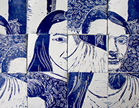 Two Portraits in Azulejo style