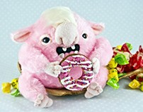 Sweet-tooth Monster, fantasy creature, OOAK soft art to