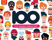 100 Flat Design Characters Illustration Pack