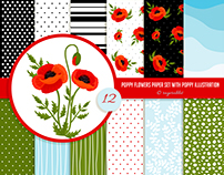 Poppy Flowers with Digital Paper Set