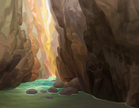 Canyon themed environment paintings