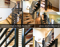Steel frame custom staircase with wooden steps