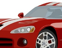 Dodge Viper Digital Illustration-Step Two