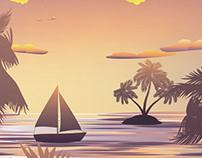 Tropical Island and Sailboat at Sunset
