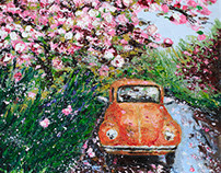 Blossoming around the orange car