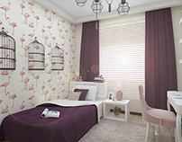 Flat Interior Design / Young Girl Bedroom Design