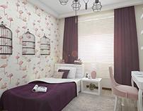 Flat Interior Design / Young Girl Bedroom Design