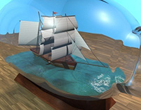 3D Computer Model: Ship In A Bottle