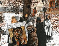"Mashkovskii ""Pilgrims"" paper colored pencils"