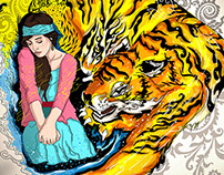 Tattoo Concept - Tiger & Girl