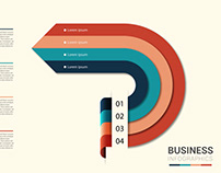 Free Modern Business Infographics Arrow Circle 4 Steps