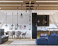 Loft living room 3D-Visualization&Design