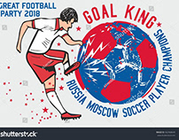 Russian soccer graphic design vector art