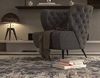 Living attic detail render Corona