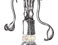 Squid simple drawing vintage logo