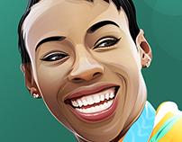 Murielle Ahouré Vector Portrait illustration