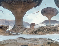 Porous Dragon Rocks Matte Painting