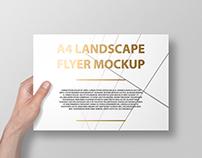 A4 Landscape Flyer / Poster Mockup – Foil Stamping Edit