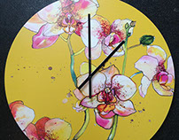 Pink Orchids Clock
