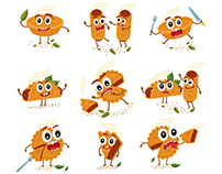 Pies Roll Quiche cartoon characters