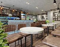 THIẾT KẾ CẢI TẠO QUÁN CAFE ĐẸP 6X10M TẠI TPHCM
