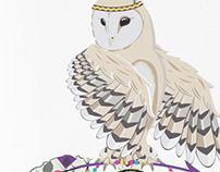 Owl on dreamcatcher