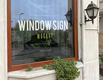 2 Free Window Sign Mockup in a Restaurant Mockups