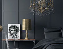 bedroom black and gold