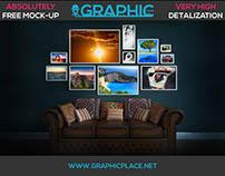 Photo Wall - Free PSD Mockup