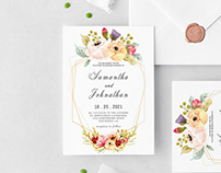Free Modern Geometric Wedding Invitation Template
