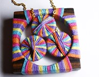 "Lemelle necklace ""Rainbow Wooden"""