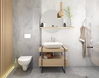 Small bathroom #lightgrey #wood