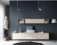 Modern furniture made to show fresh oak wood